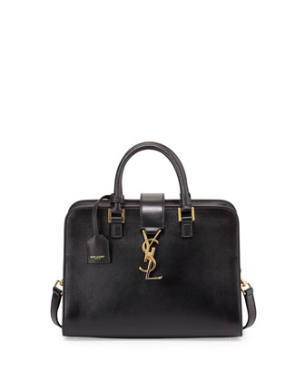 Monogram Mini Zip-Around Satchel Bag, Black