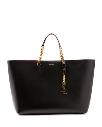Monogramme Double-Chain Tote Bag, Black/Fuchsia