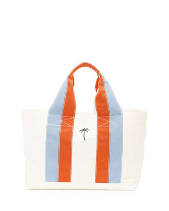 Palm Tree Canvas Beach Tote Bag