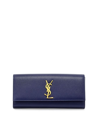 Monogram Calfskin Clutch Bag, Cobalt Blue