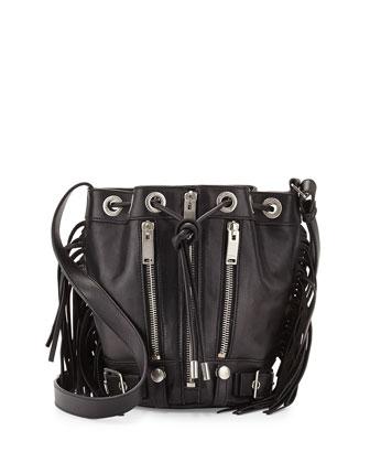 Rider Small Fringe Bucket Crossbody Bag, Black