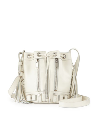 Rider Small Fringe Bucket Crossbody Bag, White