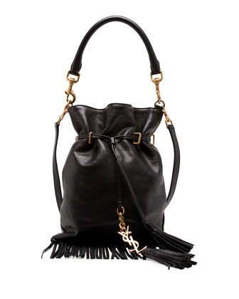Monogram Small Fringe Bucket Bag, Black