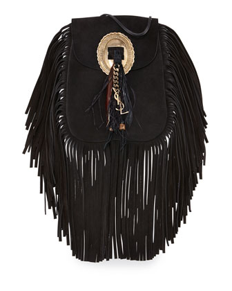 Anita Small Suede Fringe Flat Bag, Black