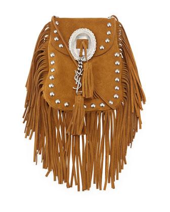 Anita Small Suede Fringe Flat Bag, Camel