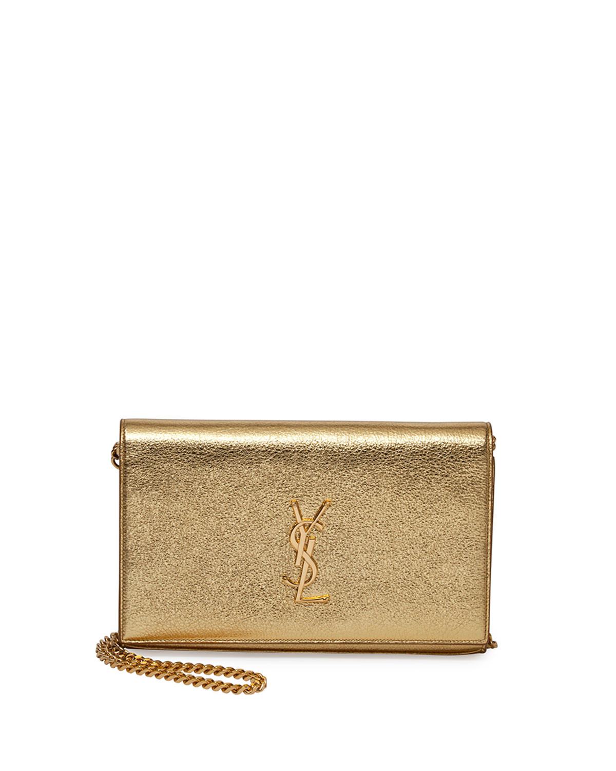 Monogram Metallic Chain Wallet, Gold, Women's - Saint Laurent