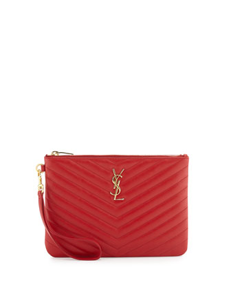 Monogramme Matelasse Pouch Wallet, Red