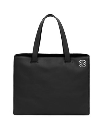 East-West Large Shopper Tote Bag, Black