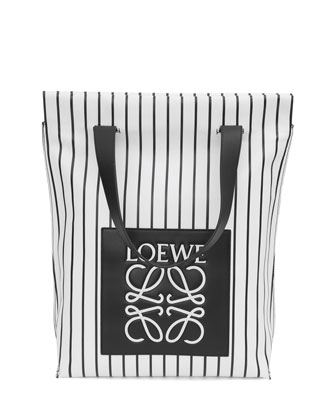 Striped North-South Shopper Bag, Black/White