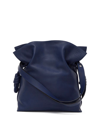 Flamenco Knot Bucket Bag, Navy Blue