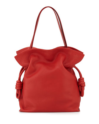 Flamenco Knot Bucket Bag, Red