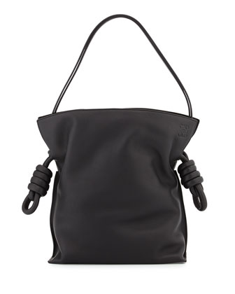 Flamenco Small Knot Bucket Bag, Black
