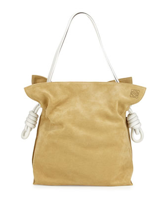 Flamenco Bicolor Knot Bucket Bag, Gold/White