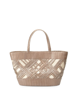 Crocodile Crisscross Tote Bag, Sand Matte