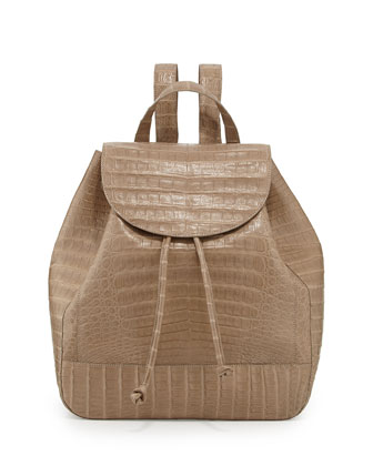 Matte Crocodile Backpack, Sand