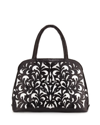 Cutout-Overlay Medium Crocodile Satchel Bag, Black/White Matte