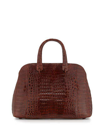 Large Crocodile Dome Satchel Bag