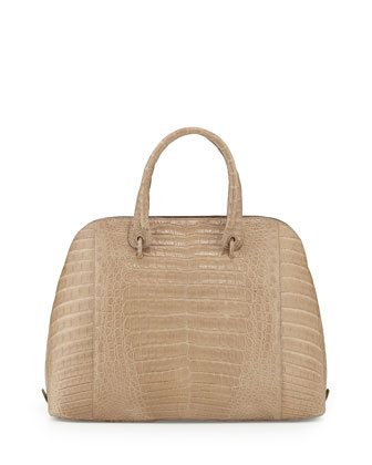 Crocodile Large Dome Satchel Bag, Sand Matte