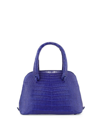 Crocodile Small Dome Satchel Bag, Cobalt Blue