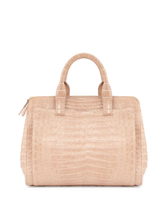 Large Crocodile Tote Bag, Nude Matte