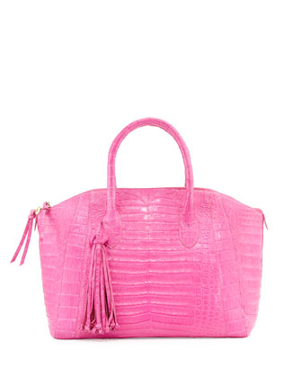Medium Crocodile Satchel with Tassel, Pink Matte