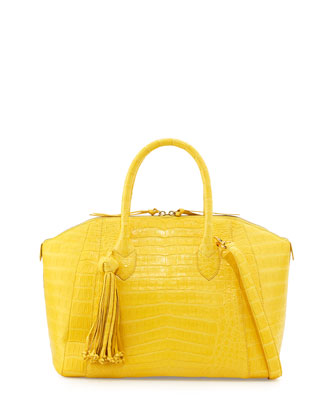 Crocodile Satchel Bag with Tassel, Yellow