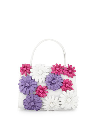 Floral/Crocodile Small Satchel Bag, White