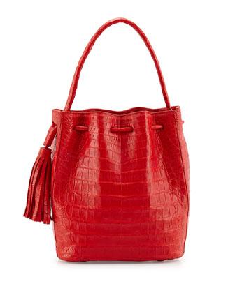 Medium Crocodile Tassel Bucket Bag, Red Matte