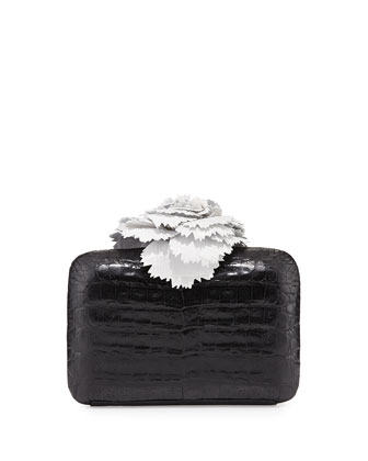 Crocodile Flower Minaudiere, Black/White