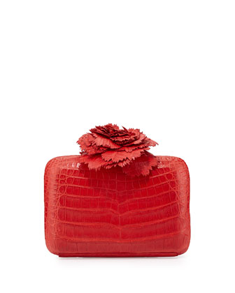 Crocodile Flower Minaudiere, Red Matte