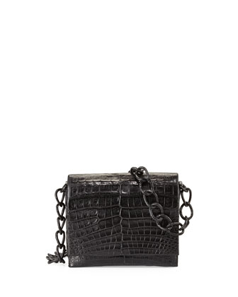 Crocodile Small Chain Shoulder Bag, Black Matte