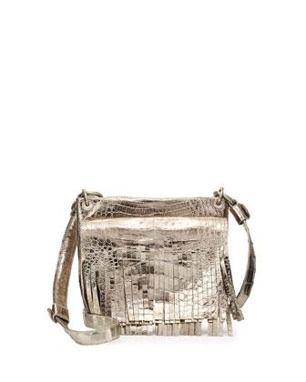 Metallic Crocodile Fringe Crossbody Bag