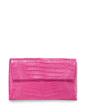 Crocodile Small Soft Clutch Bag, Pink Matte