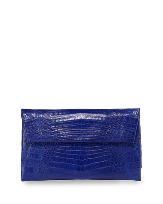 Small Soft Crocodile Flap Clutch Bag, Cobalt Blue