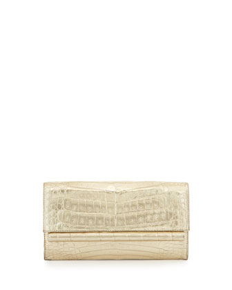 Metallic Crocodile Clutch Bag, Gold Matte