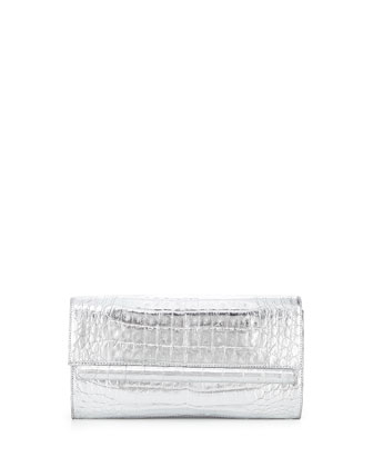 Metallic Crocodile Fold-Over Clutch Bag