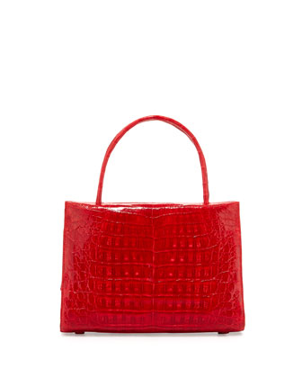 Wallis Small Crocodile Satchel Bag, Red Shiny