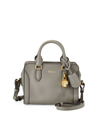 Mini Skull Padlock Leather Satchel, Dark Gray