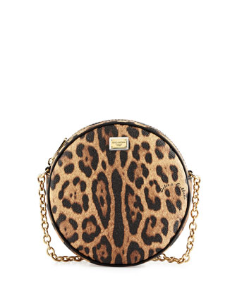 Glam Leopard-Print Round Crossbody Bag