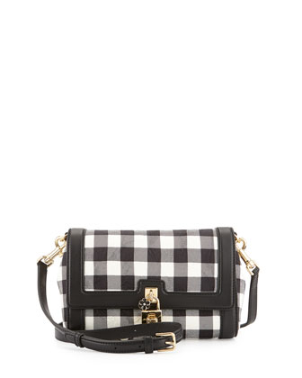 Dolce Gingham Flap Shoulder Bag, Black/White