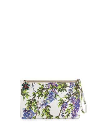 Gemma Floral Zip Pochette, White/Purple