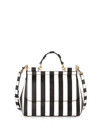 Miss Sicily Striped Satchel Bag, White/Black