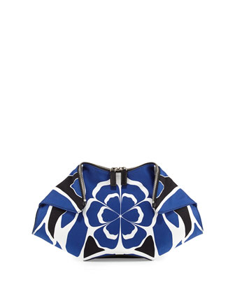 De-Manta Floral-Print Clutch Bag, Black/Blue/White