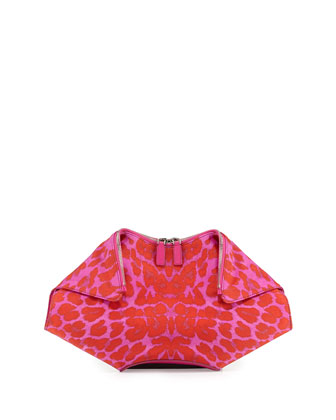 Leopard-Print De-Manta Clutch Bag, Pink/Red