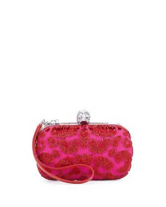 Leopard Beaded Skull-Clasp Clutch Bag, Red/Pink