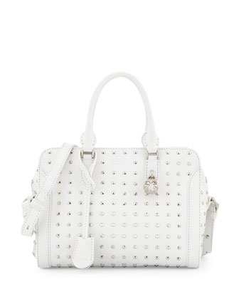 Small Studded Padlock Tote Bag, White