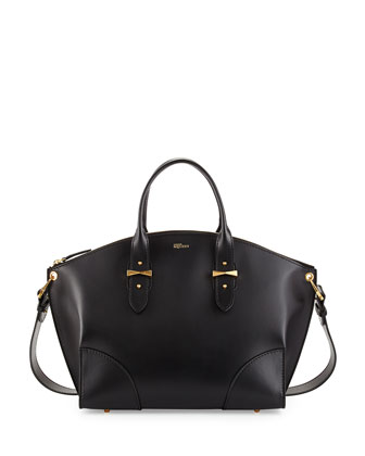 Legend Leather Zip Satchel Bag, Black