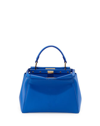 Peekaboo Mini Leather Satchel Bag, Blue