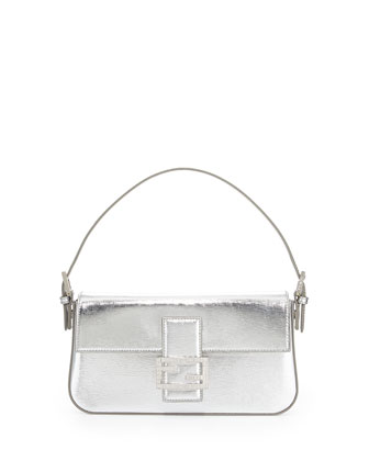 Metallic Leather Baguette Shoulder Bag, Silver