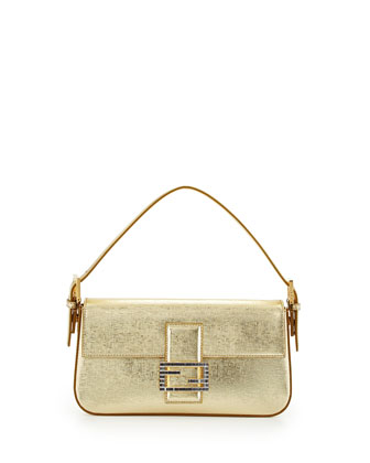 Metallic Leather Baguette Shoulder Bag, Gold